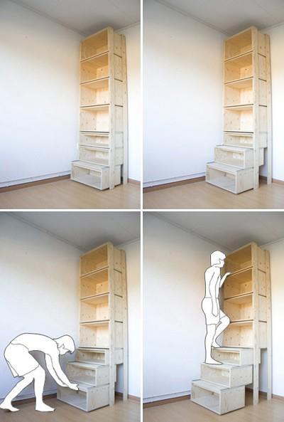 Te weinig ruimte voor een lange kast? Dan moet men natuurlijk in de hoogte werken. Door de kast op deze manier te maken, komt u zelfs bij de bovenste plank.