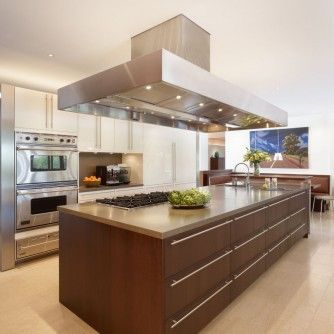 Interior Open Kitchen Ideas Dining Set Corner Cream Tiled Floor Brown Wooden Island White Wall Paint Color White Cabinets Huge Stainless Steel Chimney Kitchen Ideas That Inspire You with Multi-Functional Furniture