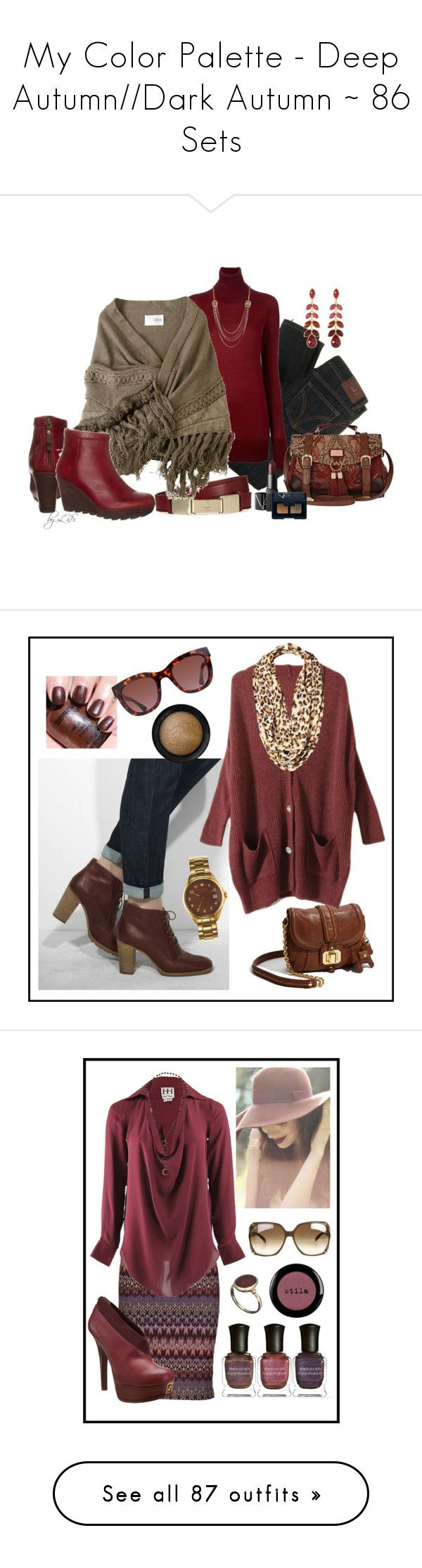 """My Color Palette - Deep Autumn//Dark Autumn ~ 86 Sets"" by venuskoenig ❤ liked on Polyvore featuring tops, outerwear, cardigans, jackets, sweaters, women, style poncho, kenzo, brown poncho and home"