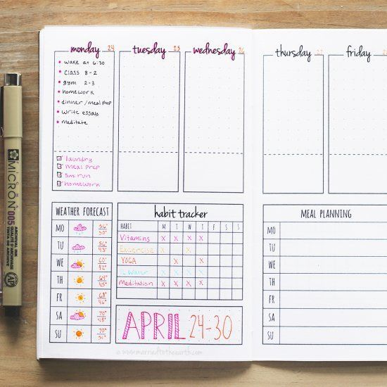 Diy Calendar Planner Template : Download this printable weekly bullet journal spread and