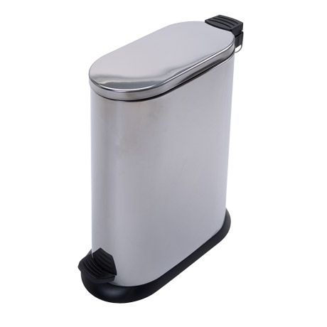 Slim Oval Pedal Bin 20 Litre in Brushed Stainless Steel - freedom furniture