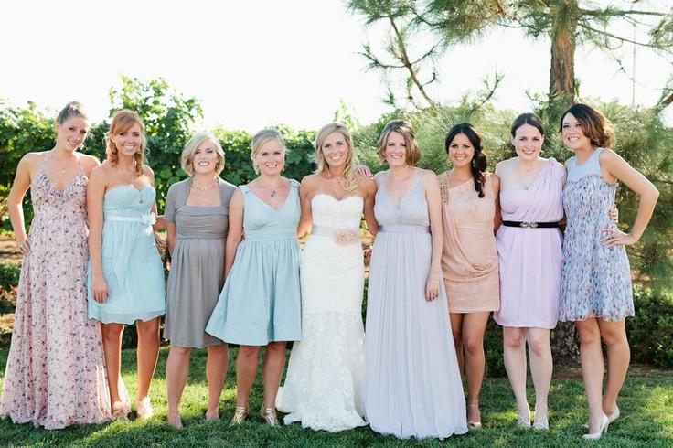 Give 'em a color palette and trust their judgement.: Pastel Bridesmaid Dresses, Bridesmaids Aren T, Different Bridesmaid Dresses, Wedding Ideas, Wedding Stuff, Bridesmaids Dresses, Color Palette, Stylemepretty Bridesmaids, Pastel Bridesmaids