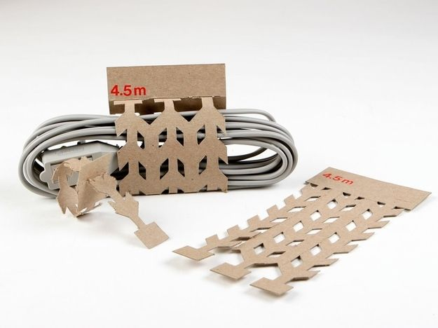 Cord packaging that tears off to become cord ties. | 31 Mind-Blowing Examples of Brilliant Packaging Design