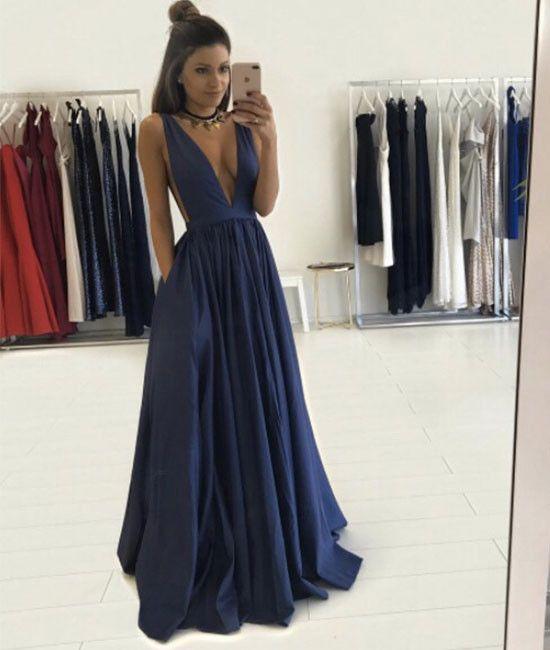 Simple v neck dark blue long prom dress, evening dress