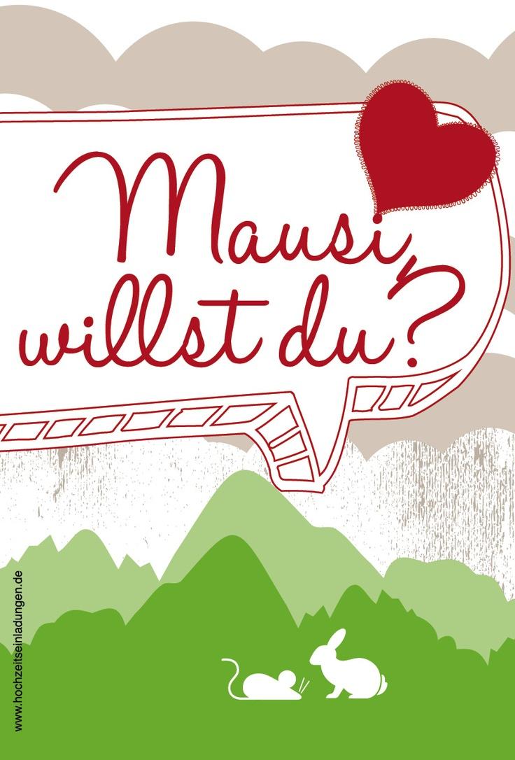 Für Paare mit Humor! Wenn Mausi mit dem Hasi.... Lustige Einladungskarte zum Thema Spitznamen! http://www.hochzeitseinladungen.de/hochzeit/kartengalerien/modern-farbenfroh/action/show/card/DEB067/?q=spitznamen