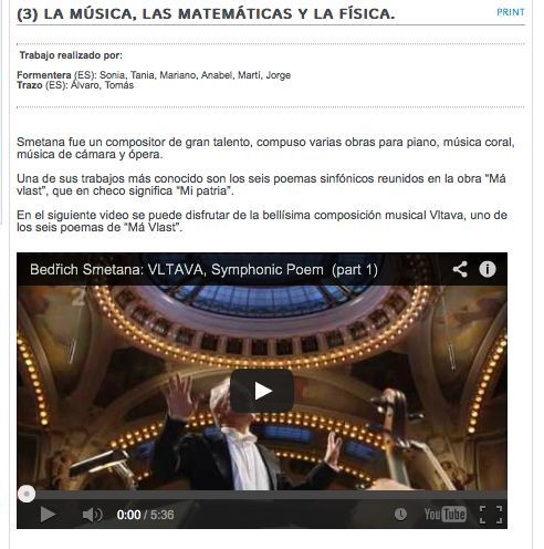 La música, las matemáticas y la física del sonido a través de Vltava de Bedřich Smetana (Trabajos de los alumnos/as)