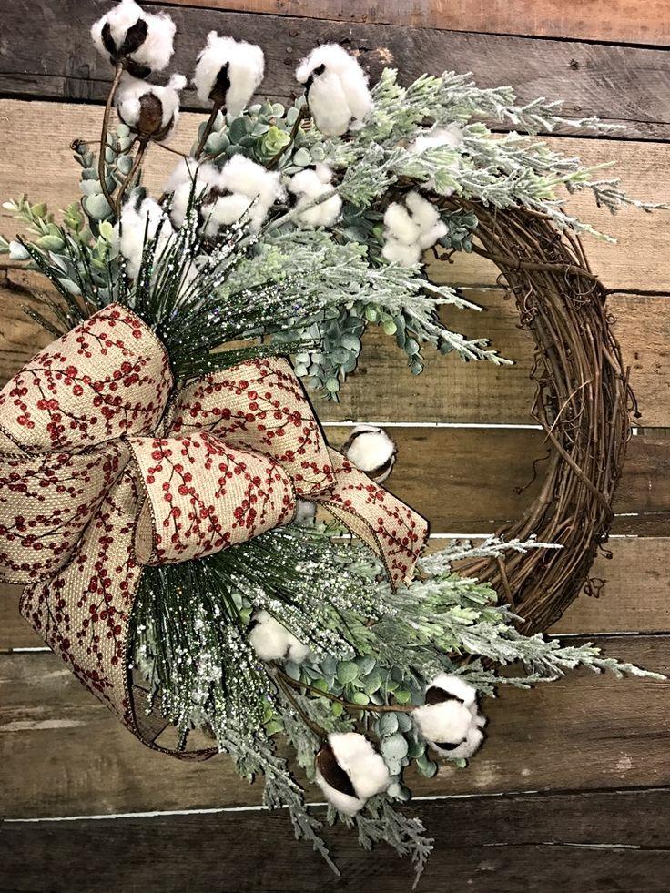 Rustic Wreath, Rustic Christmas Wreath, Rustic Winter Wreath, Cotton Bolls Wreath, Winter Wreath, Holiday Wreath, Decorative Wreath, Home Décor, Rustic Décor