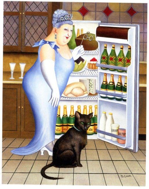 Beryl Cook 'Percy op de koelkast'