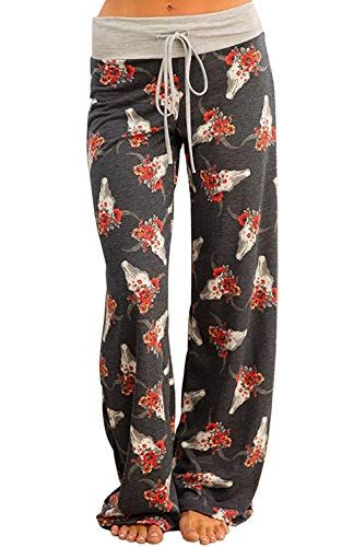 b13338b646 NEWCOSPLAY Women s Comfy Pajama Pants Floral Print Drawstring Palazzo  Lounge Wide Leg Pants at Amazon Women s Clothing store
