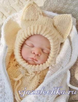 Шапка-шлем спицами малышу