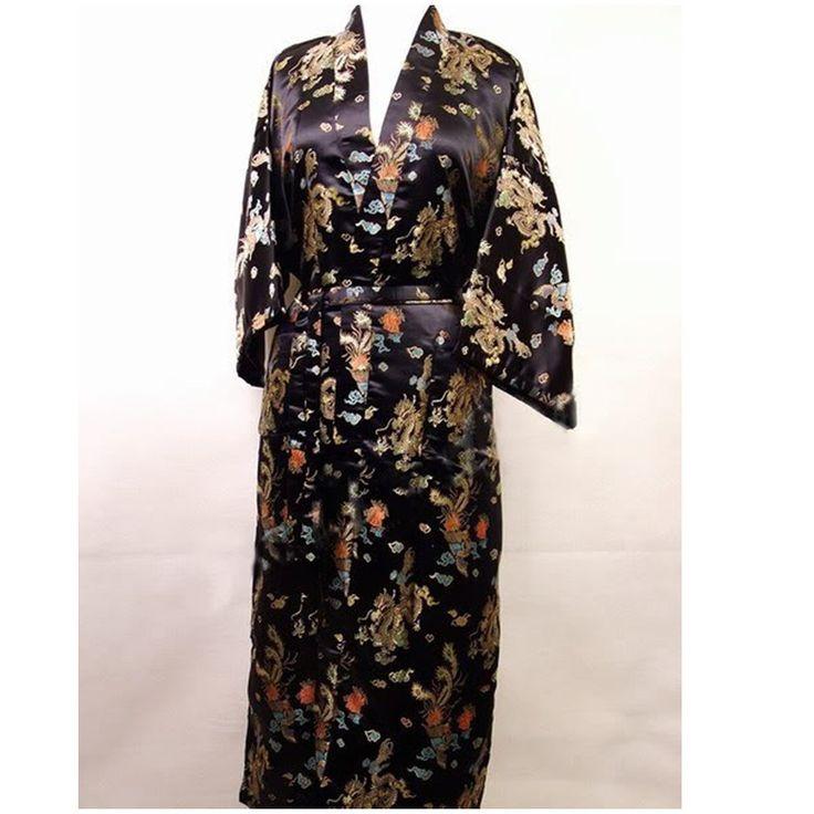 Promotion New Black Men's Silk Bathrobe Classic Chinese Traditional Bathrobe Printed Kimono Gown Size S M L XL XXL  ZR14