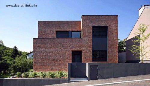 Casa minimalista de ladrillos colorados en Zagreb Croacia