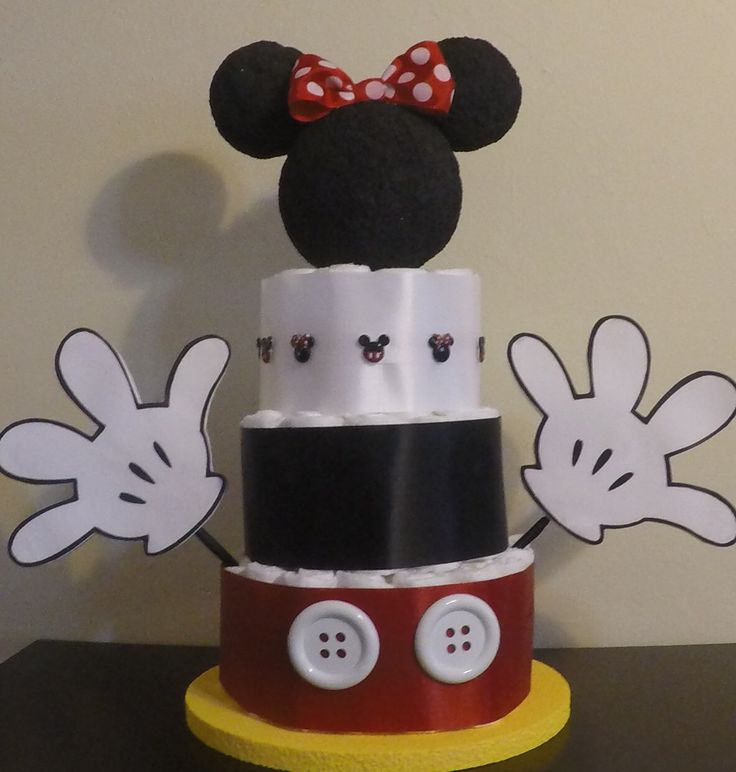 Mickey Mouse Diaper Cake  Mickey Mouse Baby Shower Decor  Baby 1st Birthday, Mickey Table Centerpieces, Dessert Table Decor, Gift Table. by JustHandCreations on Etsy https://www.etsy.com/listing/274446810/mickey-mouse-diaper-cake-mickey-mouse