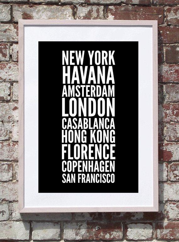 Favourite Place Names Travel Print. $20.00, www.cocobluecreative.com