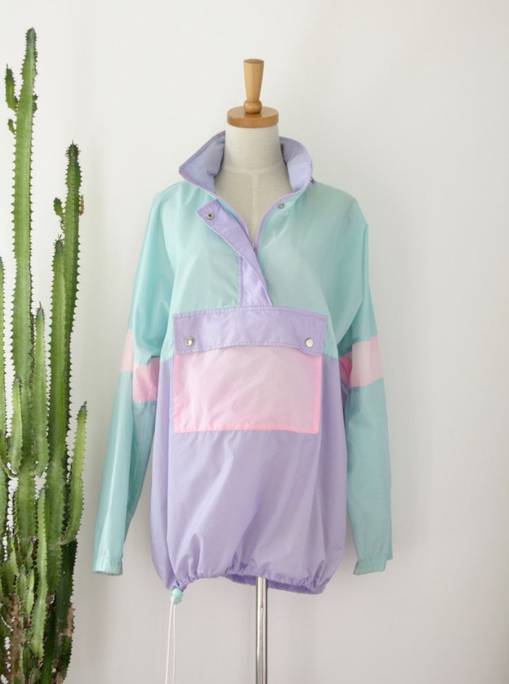 90s pastel minimalist windbreaker. Mint purple rain wear. 90s oversized jacket. 80s pastel sports wear by ForestHillTradingCo on Etsy