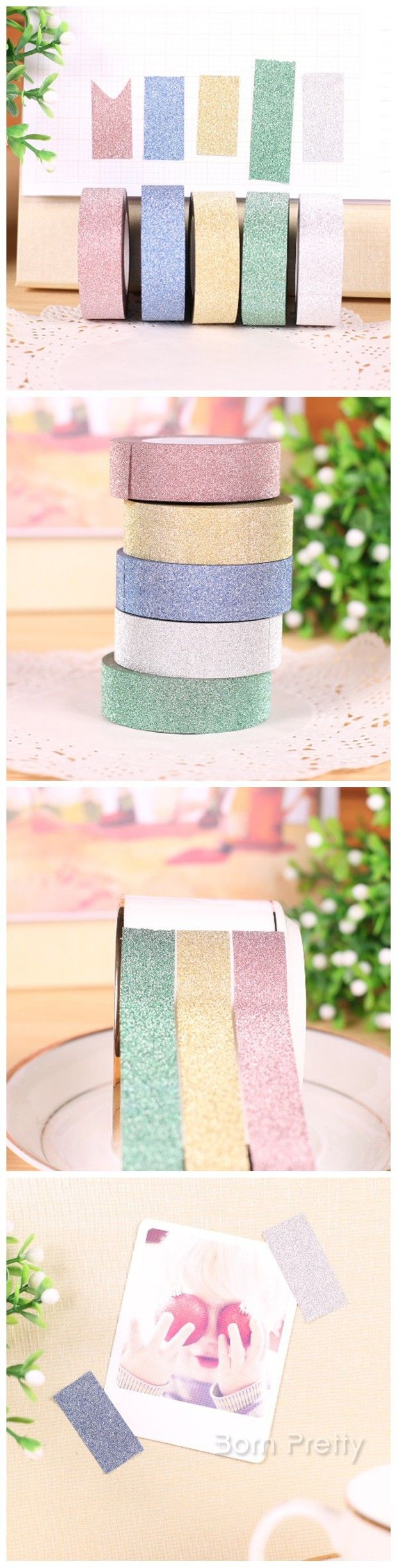 $2.45 Colorful Glitter Powder Adhesive Tape Flash Decoration Adhesive Tape - BornPrettyStore.com Use code DUG10 to get 10% off!!