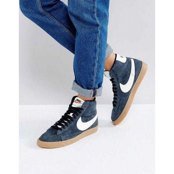 Nike Blazer Mid Trainers In Black Suede ($98) ❤ liked on Polyvore featuring shoes, sneakers, black, high-top sneakers, suede high top sneakers, black hi top sneakers, hi tops and black suede sneakers