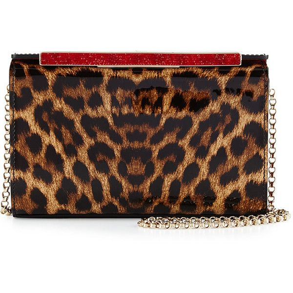 Christian Louboutin Vanite Small Leopard-Print Clutch Bag (34.146.225 VND) ❤ liked on Polyvore featuring bags, handbags, clutches, leopard, patent purse, christian louboutin purse, leopard purse, chain-strap handbags and christian louboutin