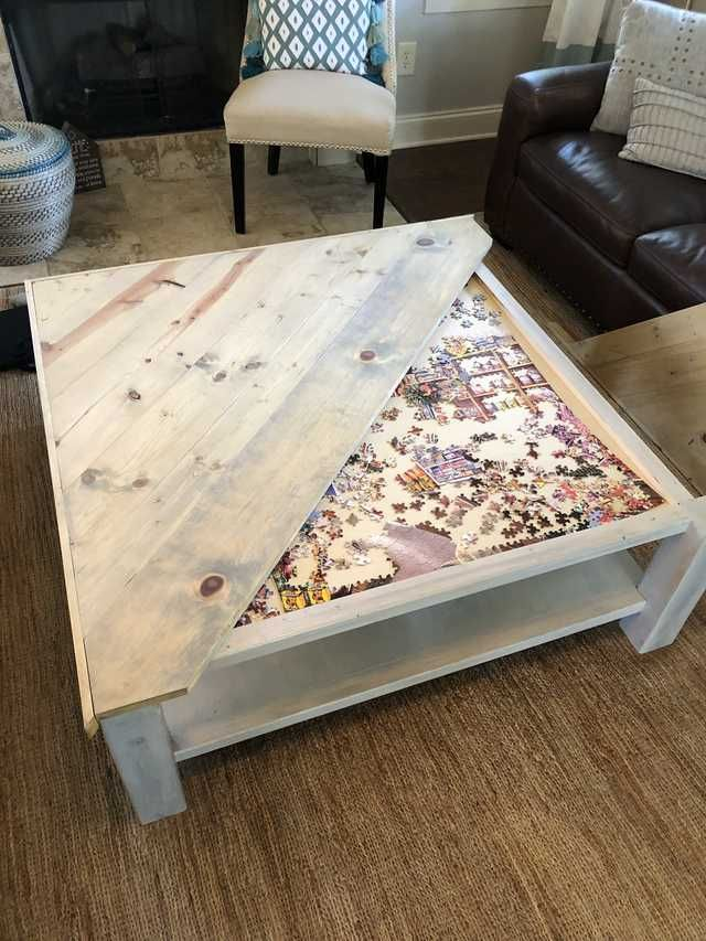 Built A Puzzle Table Coffee Table Puzzle Table Diy Coffee Table Farmhouse Style Coffee Table