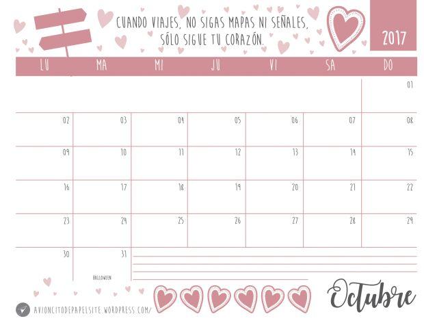 Calendario descargable gratis 2017 Octubre