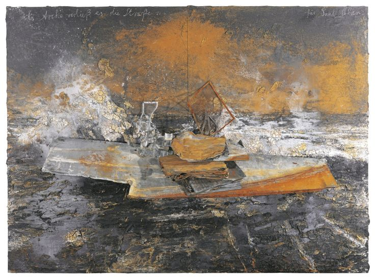 Anselm Kiefer (German, b. 1945), Dein Haus ritt di finstere Welle [Your House Rode the Dark Wave] , 2005. Oil, emulsion, acrylic, coal, lead boat and books on canvas, 280 x 384 cm.