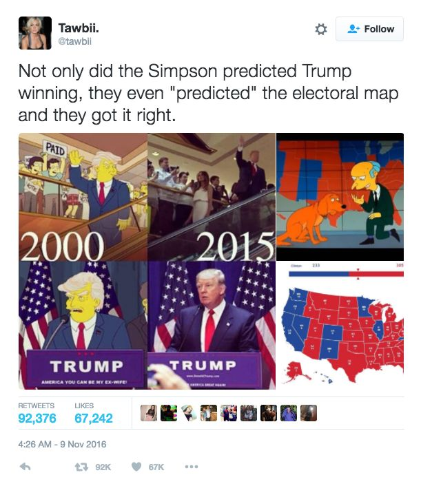 """Versions of The Simpsons """"prediction"""" have already gotten hundreds of thousands of shares on Facebook and Twitter. 