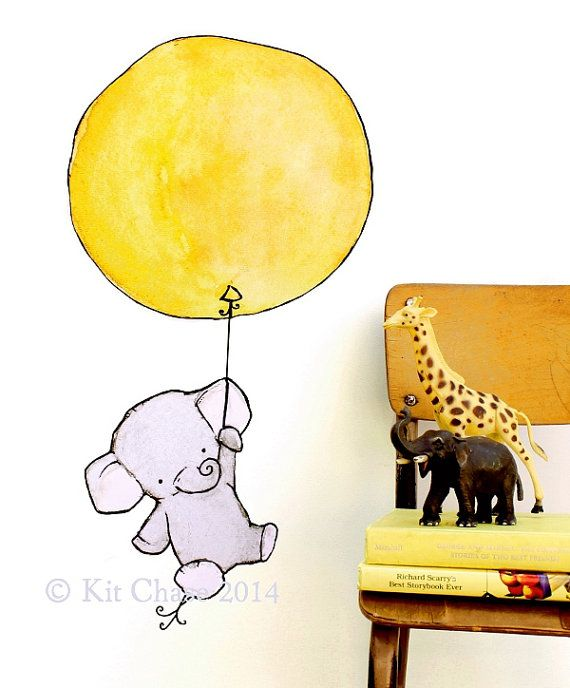 Elephant Balloon -- Wall Decal