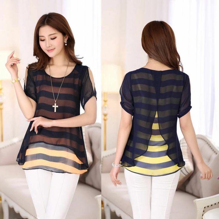 Women Chiffon strapless short-sleeved striped shirt  Swallowtail BLOUE Top L-4XL #oem #Blouse #Casual