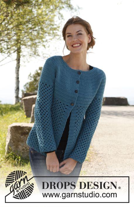 """Free pattern: Crochet DROPS jacket in """"Karisma"""". Size: S - XXXL."""