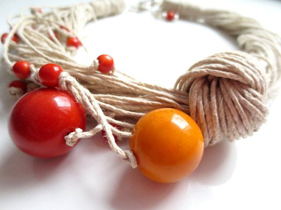 Yellow And Orange Round Tagua Nut Natural Linen Cord by ArteTeer, $40.00