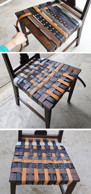 #DIY #leather belt chair design...not only it's reused materials, it looks comfy and classy!