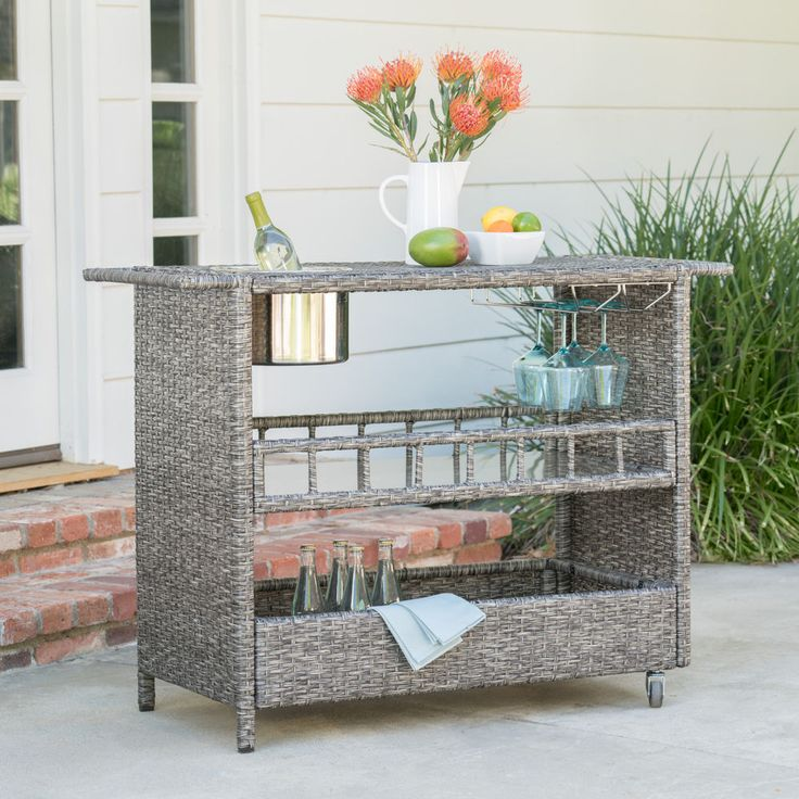Waikiki Outdoor Fine Crafted Mixed Black Wicker Bar Serving Cart #GDFStudio #Contemporary