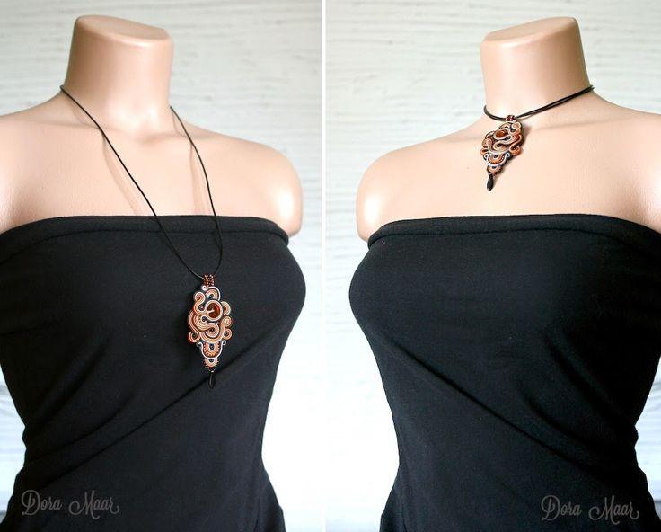polandhandmade.pl naszyjnik sutasz, soutache necklace #bizuteria #kobieta #moda
