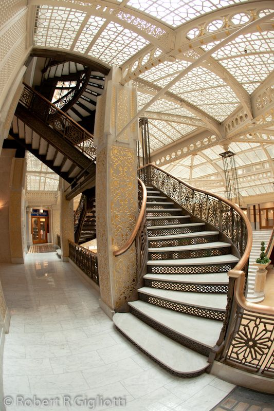 The famous Frank Lloyd Wright designed interior of the Rookery building. This is also where Daniel Burnham, of of USA most famous architects had is office in the late 1800's, early 1900's.