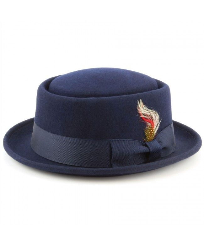 Maz 100% wool Pork pie hat with multicoloured side feather - Navy