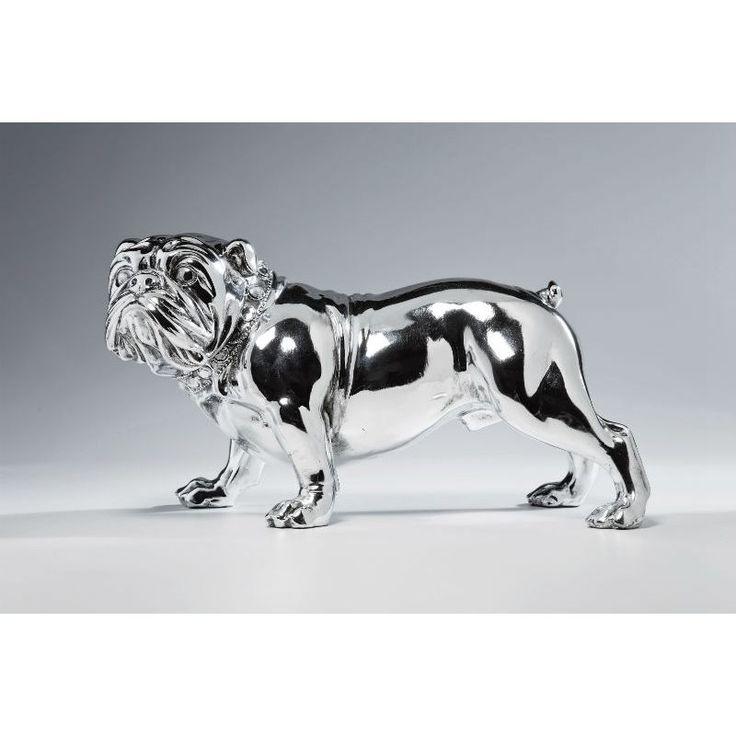 Διακοσμητικό Bulldogge Silver II Επιτραπέζιο διακοσμητικό γλυπτό μπουλντόγκ, σε γυαλιστερό επιχρωμιωμένο polyresin.