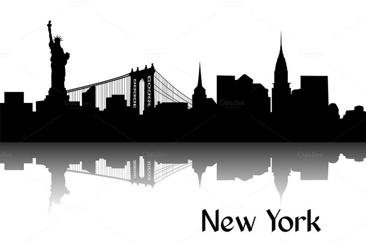 Black silhouette of skyline of New York, USA. Every vector illustration comes as both a scalable EPS file and as a large RGB JPEG file