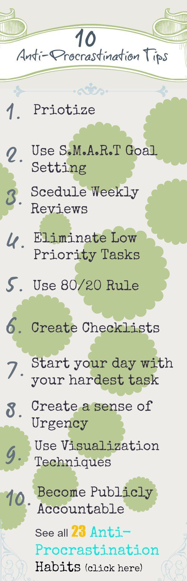 Top Ten Tips to Stop Procrastination | Guide to increasing productivity, quit being lazy and getting more done in your life. #procrastinate #productivity #goal-setting