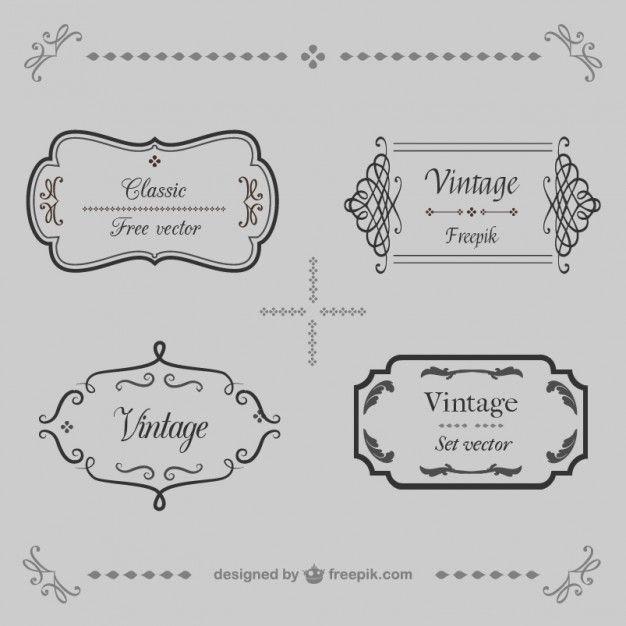 Calligraphique cadres ensemble de vecteur rétro Vecteur gratuit