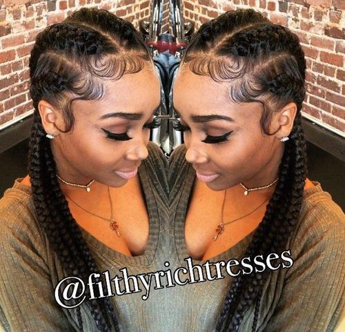 French braids on fleek! Add a bun