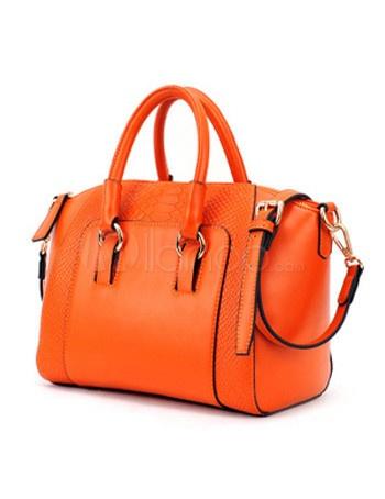 Charming Orange Python Print PU Leather Tote Bag For Women