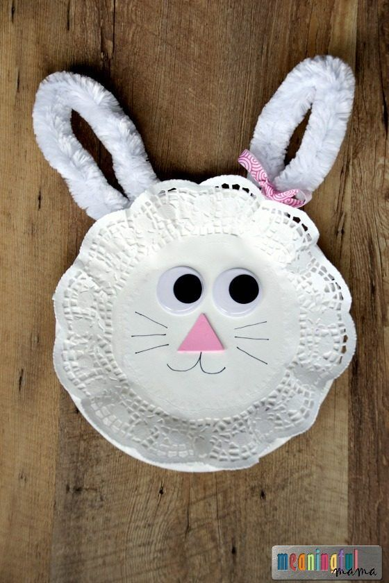 Easter Bunny Paper Plate and Doily Craft for Kids - Easy and Inexpensive Kid Crafts #artsandcraftsforkids,