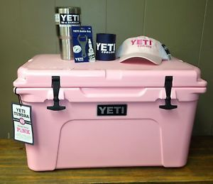 I am obsessed with yeti!  Pink-Yeti-Cooler-45-Qt-Summer-Package-Cooler-Rambler-Hat-Opener-Koozie