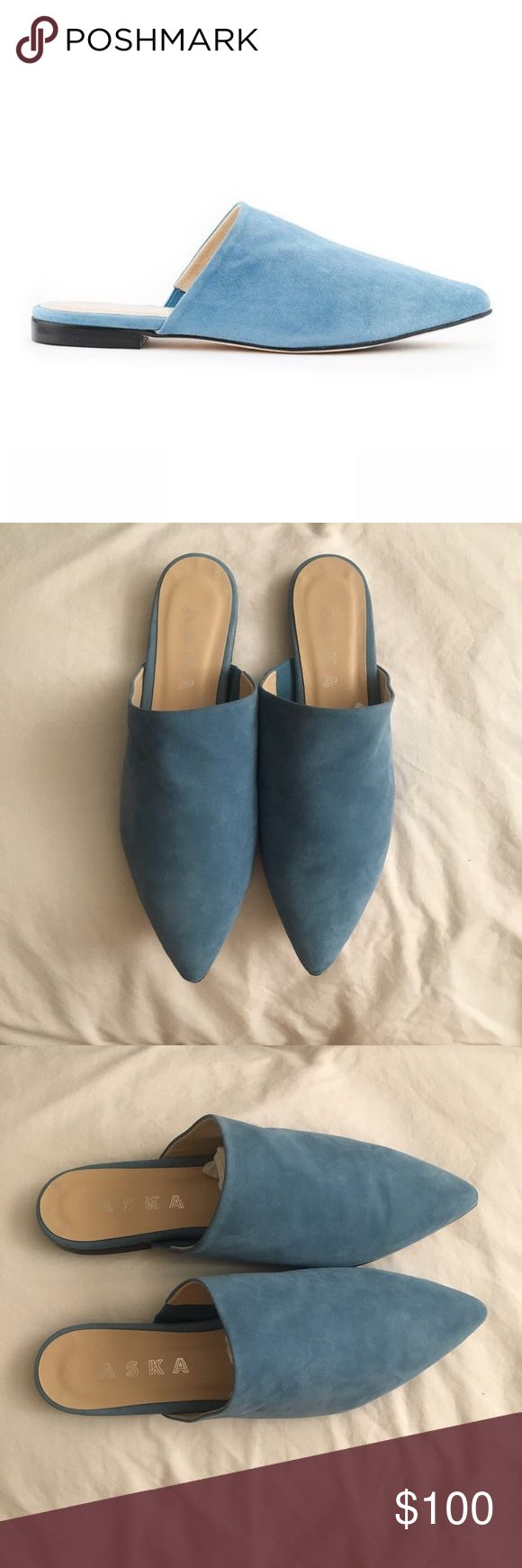 Aska Blue Suede Mules. Slip ons  (Lee) Lee pointy toe (slip-on) mule is the perfect alternative to a ballet flat. Blue Suede. Made in Italy. Runs a whole to 1 1/2 size small because it is a mule. Fits like a 7 - 7 1/2. Aska Shoes Mules & Clogs
