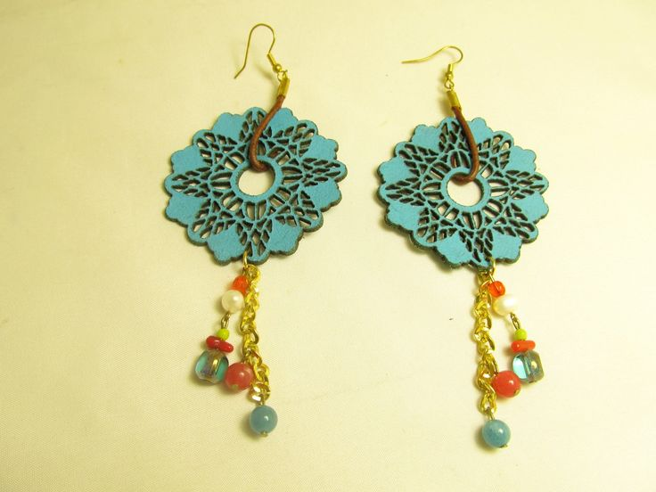 Handmade earrings with turquoise leather earrings (1 pair)  Made with turquoise leather filigree, leather cord, antiallerging hangings, chain, semiprecious stones and glass beads.