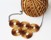 Crochet necklace brown rust yellow marbled olympic circles quintette fiber art Autumn fall fashion