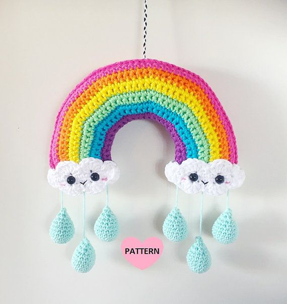 Rainbow Crochet Kawaii Clouds Mobile PDF Pattern crochet by SuperCuteDesignShop on Etsy