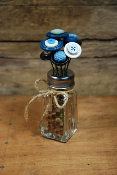 DIY:  Button Flower Bouquet Tutorial - easy project using $ Store sp shakers, wire  buttons.
