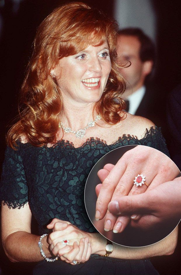 Sarah Ferguson and Prince Andrew 1986 For the Duchess of York, Prince Andrew helped design an oval Burma ruby ring (to compliment her red hair) from Garrard Jewelers, surrounded by a cluster of 10 drop diamonds. It is set in 18-carat yellow gold, and has a white gold band.