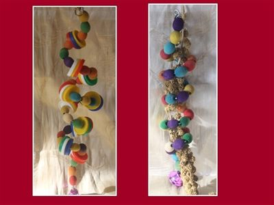 A pack of two fav twisters to make your bird smile :)   Round the twist differently:Easy to manipulate to fit your environment. 35-40cm.   Round the twist, pure and original: Comes with a millet spray :)   Bead colours may vary, made to order - freshly picked you could say!   I pride myself on providing good quality, safe & affordable pet products.  Exclusively handmade for thefuzziehaven by fuzzies72